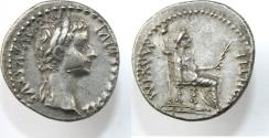 Ancient Coins -  TIBERIUS. 14-37 AD. AR Denarius (3.80 gm). Lugdunum mint. TI CAESAR DIVI AVG F AVGVSTVS,