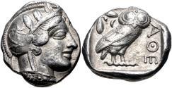 Ancient Coins - ATTICA, Athens. Circa 454-404 BC. AR Tetradrachm (22.5mm, 17.16 g, 5h).