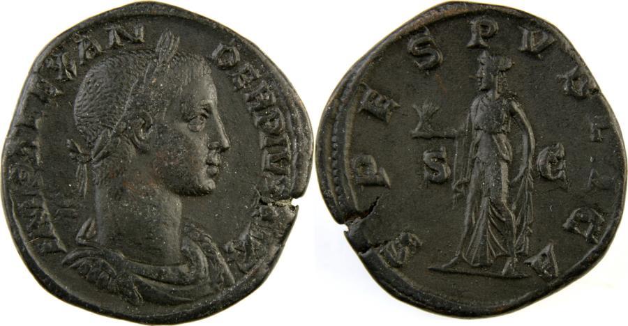 Ancient Coins - SEVERUS ALEXANDER. 222-235 AD. Æ Sestertius (30mm, 18.25 gm). Struck 232 AD.