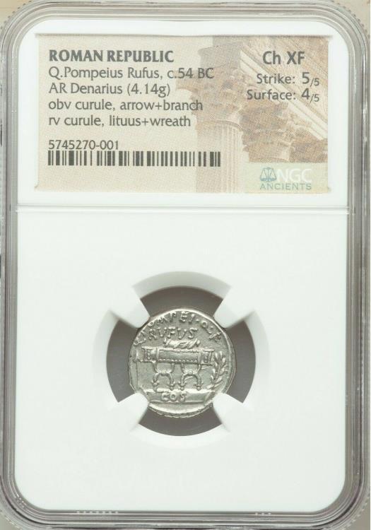 Ancient Coins - Q. Pompeius Rufus (ca. 54 BC). AR denarius (18mm, 4.14 gm, 5h). NGC