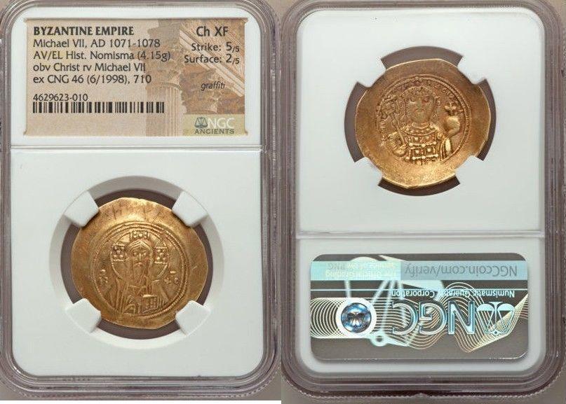 Ancient Coins - Michael VII Ducas (AD 1071-1078). AV/EL histamenon nomisma scyphate (28mm, 4.15 gm, 6h).Armenian Graffiti