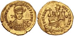 Ancient Coins - Theodosius II. AD 402-450. AV Solidus (18.5mm, 4.47 g, 7h). Constantinople mint, 1st officina.