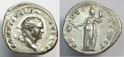 Ancient Coins - Ancient Roman TITUS. 79-81 AD. AR (silver) Denarius (20mm, 3.31 gm).