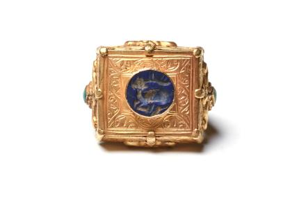Ancient Coins - Indian Sasanian Gold Ring with Lapis Stag Intaglio Ca. late 6th century AD.
