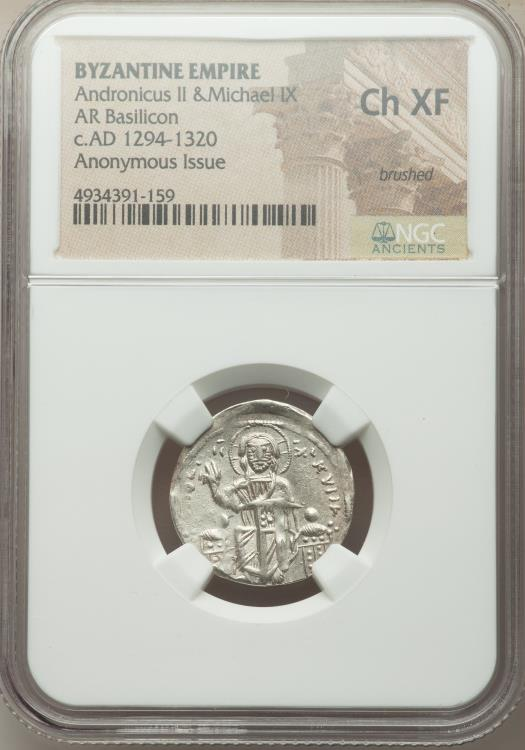 Ancient Coins - Andronicus II Palaeologus and Michael IX (AD 1294-1320). AR basilicon (21mm, 6h). NGC Choice XF