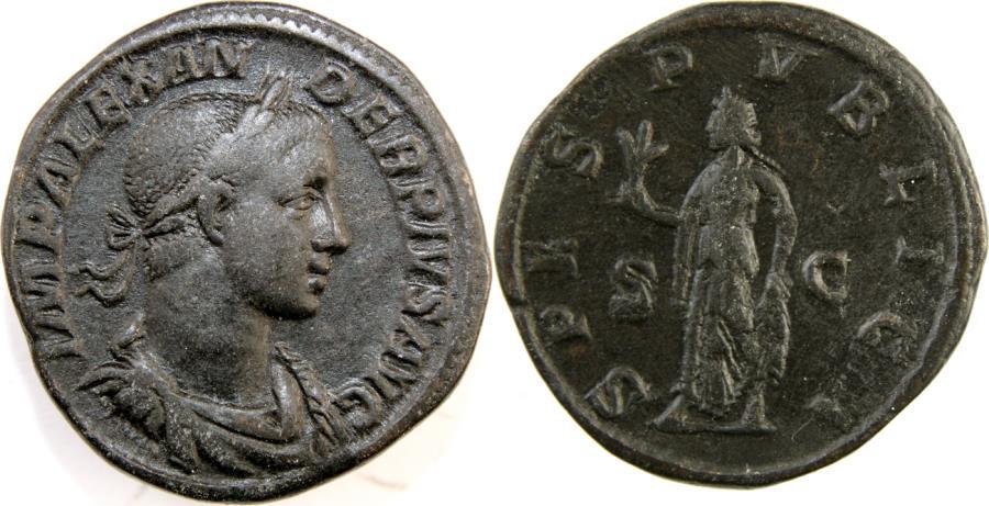 Ancient Coins - SEVERUS ALEXANDER. 222-235 AD. Æ Sestertius (31mm, 24.40 gm). Struck 232 AD.