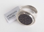 Medieval Armenian Bronze coin set in Silver ring c.12th/13th century AD.