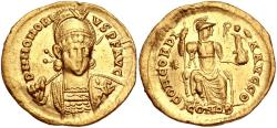 Ancient Coins - Honorius. AD 393-423. AV Solidus (21mm, 4.25 g, 6h). Constantinople mint, 9th officina.