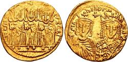 Ancient Coins - Constantine VI & Irene, with Leo III, Constantine V, and Leo IV. 780-797. AV Solidus (20mm, 4.43 g, 6h).