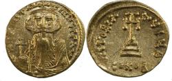 Ancient Coins - Constans II. 641-668. AV Solidus (20mm, 4.44 g). Constantinople mint, 9th officina.