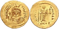 Ancient Coins - Maurice Tiberius. 582-602. AV Solidus (21.5mm, 4.45 g, 7h). Constantinople mint, 1st officina.