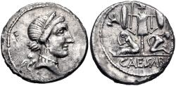 Ancient Coins - The Caesarians. Julius Caesar. Late 46-early 45 BC. AR Denarius (18.5mm, 3.31 g, 10h).