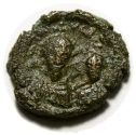Ancient Coins -  Heraclius, with Heraclius Constantine. 610-641. Æ 12 Nummi (18mm, 4.64 gm). Alexandria mint.