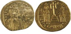 Ancient Coins - Constans II, with Constantine IV, Heraclius, and Tiberius. 641-668. AV Solidus (20mm, 4.38 gm)