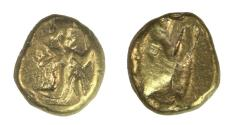 Ancient Coins - PERSIA, Achaemenid Empire. Time of Darios I to Xerxes II. Circa 485-420 BC. AV Daric (16mm, 8.32 g). Persian king or hero in kneeling-running stance right, holding spear and bow, w