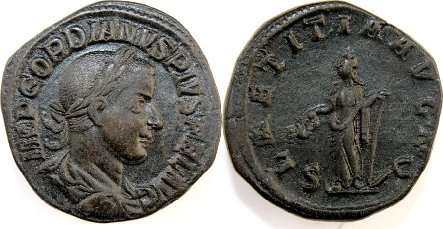 Ancient Coins - Gordian III. AD 238-244. Æ Sestertius (31mm, 19.76 gm). Rome mint.