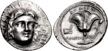Ancient Coins - ISLANDS off CARIA, Rhodos. Rhodes. Circa 229-205 BC. AR Tetradrachm (26mm, 13.55 g, 12h)