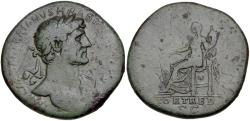 Ancient Coins - Hadrian. AD 117-138. Æ Sestertius (33.5mm, 24.06 g, 7h). Rome mint. Struck AD 118.