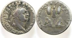 Ancient Coins - Titus. AD 79-81. AR Denarius (3.33g). Rome mint.  Laureate head right / Trophy of arms