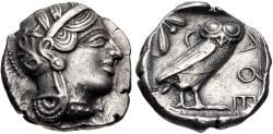 Ancient Coins - ATTICA, Athens. Circa 454-404 BC. AR Tetradrachm (27mm, 17.18 g, 8h). Helmeted head of Athena