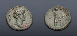 Ancient Coins - Marcus Aurelius. As Caesar, AD 139-161. Æ Sestertius (33mm, 18.60 g, 12h). Rome mint.