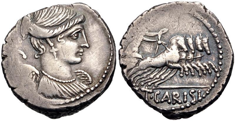Ancient Coins - Moneyer issues of Imperatorial Rome. T. Carisius. 46 BC. AR Denarius (18mm, 3.95 g, 5h). Rome mint