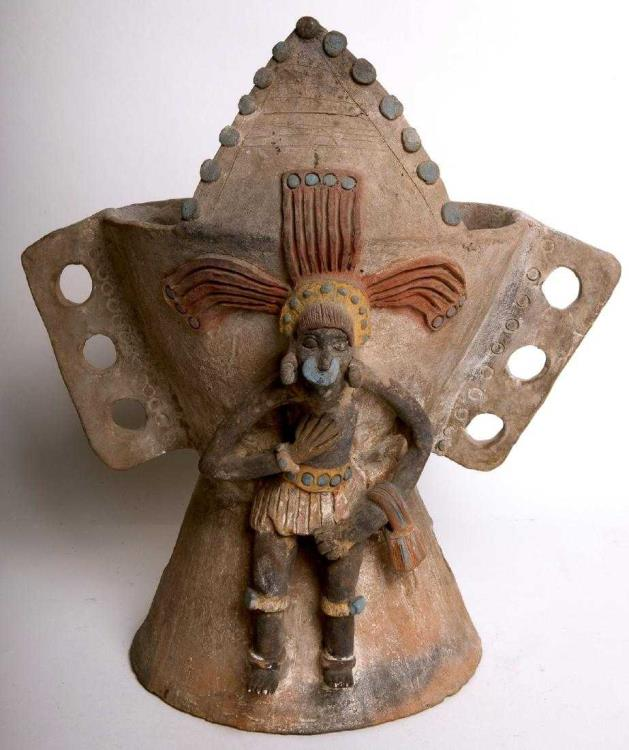 Ancient Coins - Ancient Aztec Pottery Ceramic Incensario Post classic Mexico, circa 1100 A.D. to 1450 AD.