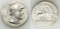 Ancient Coins - BACTRIAN KINGDOM. Eucratides I the Great (ca. 170-145 BC). AR tetradrachm (16.44 gm). Choice VF