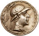 Ancient Coins - Bactrian Kingdom. Eukratides I. Silver Tetradrachm (16.23 gm), c. 171-135 BC.