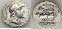 Ancient Coins - BACTRIAN KINGDOM. Eucratides I Megas (ca. 170-145 BC). AR tetradrachm (16.54 gm)