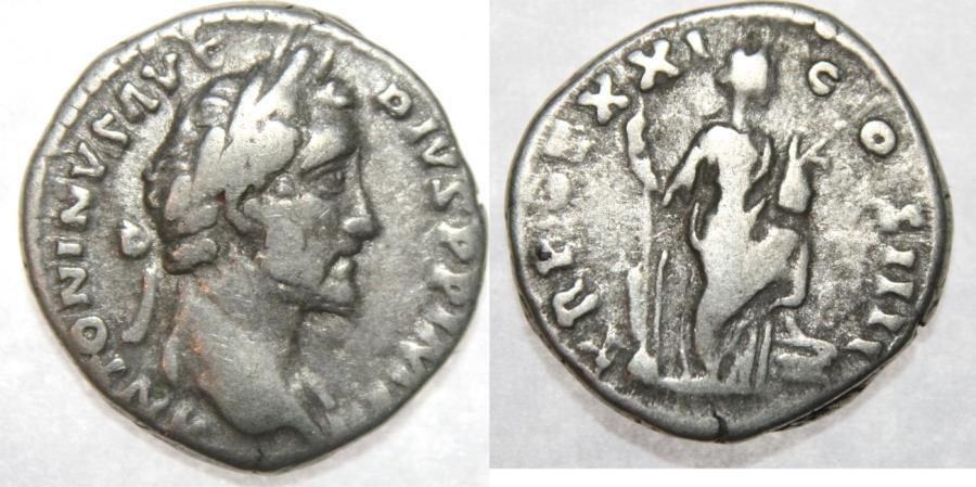 Ancient Coins - Antoninus Pius 138-161 Denarius (3,16g, 17mm), Roma 157-158 AD.