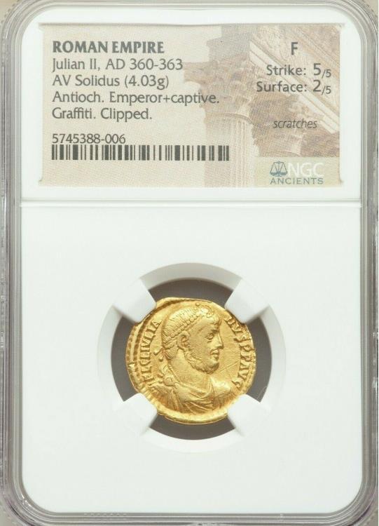 Ancient Coins - Julian II, as Augustus (AD 360-363). AV solidus (20mm, 4.03 gm, 5h). NGC