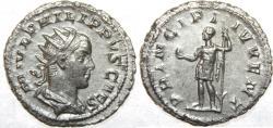 Ancient Coins - PHILIP II. As Caesar, 244-247 AD. AR Antoninianus (22mm, 4.06 gm). M IVL PHILIPPVS CAES