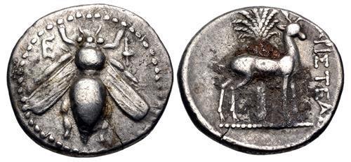 Ancient Coins - IONIA, Ephesos. Circa 202-150 BC. AR Drachm (18mm, 4.10 g, 12h). Aristeas, magistrate. Bee