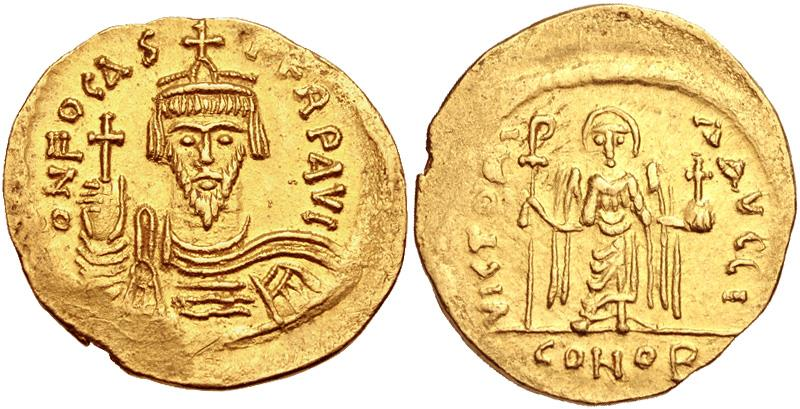 Ancient Coins - Phocas. 602-610. AV Solidus (21mm, 4.45 g, 7h). Constantinople mint, 10th officina.