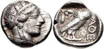 Ancient Coins - ATTICA, Athens. Circa 454-404 BC. AR Tetradrachm (25mm, 17.14 g, 10h).