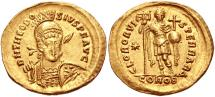 Ancient Coins - Theodosius II. AD 402-450. AV Solidus (21mm, 4.36 g, 6h). Constantinople mint, 4th officina.