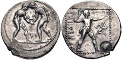 Ancient Coins - PAMPHYLIA, Aspendos. Circa 380/75-330/25 BC. AR Stater (24mm, 10.87 g, 12h). Two wrestlers