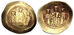 Ancient Coins - Romanus IV Diogenes, with Eudocia, Michael VII, Constantius, and Andronicus. 1068-1071. AV Histamenon Nomisma