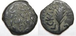 Ancient Coins - JUDAEA, Procurators. Porcius Festus. 59-62 CE. Æ Prutah (16.86mm, 2.09g). Jerusalem mint.