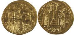 Ancient Coins -  Constans II, with Constantine IV, Heraclius, and Tiberius. 641-668. AV Solidus