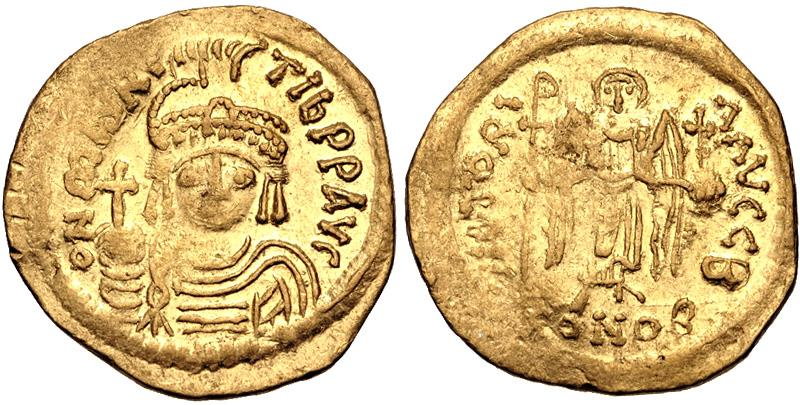 Ancient Coins - Maurice Tiberius. 582-602. AV Solidus (19mm, 3.92 g, 7h). Constantinople mint, 2nd officina.