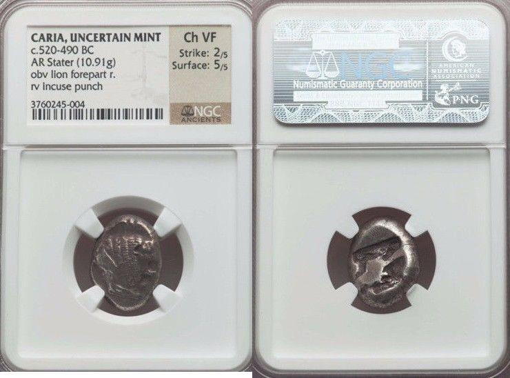 Ancient Coins - CARIA. Uncertain mint. Ca. 520-490 BC. AR stater (10.91 gm). NGC Choice VF 2/5 - 5/5