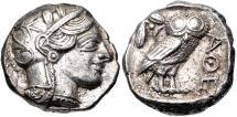 Ancient Coins - ATTICA, Athens. Circa 454-404 BC. AR Tetradrachm (24mm, 17.15 g, 7h).
