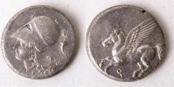 Ancient Coins - CORINTHIA, Corinth. Circa 345-307 BC. AR Stater (21mm, 8.3 g). Pegasos flying