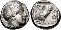 Ancient Coins - ATTICA, Athens. Circa 454-404 BC. AR Tetradrachm (23mm, 17.13 g, 1h).