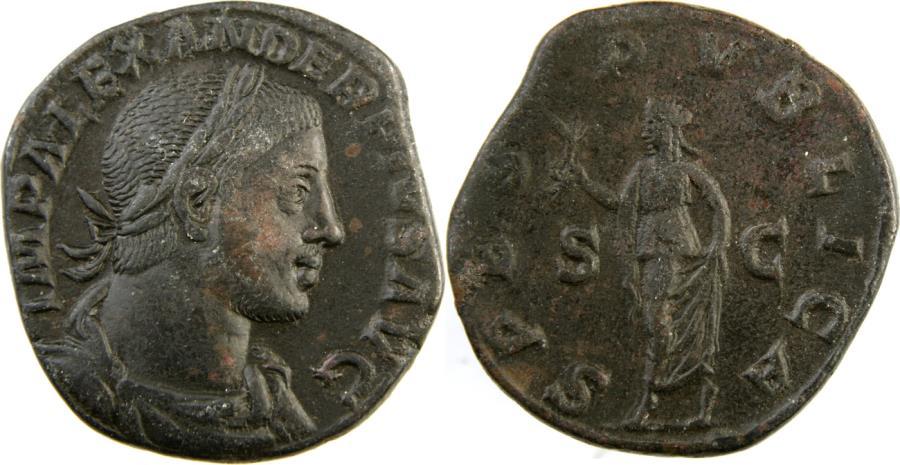 Ancient Coins - SEVERUS ALEXANDER. 222-235 AD. Æ Sestertius (29mm, 17.4 gm). Struck 232 AD.