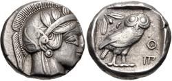 Ancient Coins - ATTICA, Athens. Circa 454-404 BC. AR Tetradrachm (23.5mm, 17.17 g, 6h). Helmeted head of Athena