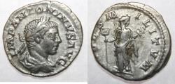 Ancient Coins - Elagabalus. AD 218-222. AR Denarius (18mm, 2.79 gm). Rome mint.