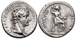 "Ancient Coins - Tiberius. AD 14-37. AR Denarius (17mm, 3.69 g, 11h). ""Tribute Penny"" type. Lugdunum (Lyon) mint."